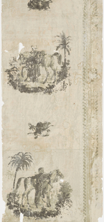 On grisaille ground, figural scenic, vignettes featuring soldier mounting horse with exotic trees, alternating with smaller motifs of riding or military attire.