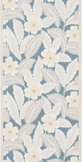 White flowers with grey feathery foliage with metallic silver with a slate blue background on a beige ground.