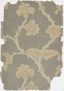 Vertical rectangle, a full width, giving one and one-half repeats. Diapered ground, with plain reserve outlining branches of serpentine vine suggestive of Indian Tree of Life.