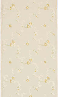 Stylized yellow flowers and scrolling acanthus foliage create a loose framework with a centered single yellow flower.