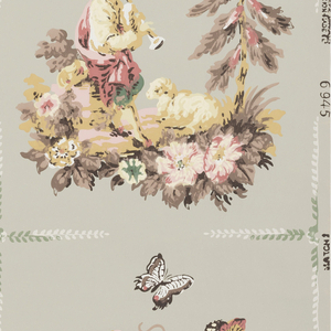 Pastoral scenes in grid, two squares wide, of a shepherd and shepherdess with butterflies and flowers. Printed in pink, white and brown on a pale lime ground.
