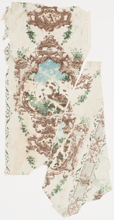 Scenic medallion with group of old country houses on right with stone wall with pond in center, cat-tails and trees on right colored in sepia, blue and green. Rococo border of cupids, shells and scrolls around medallion. There is a perpendicular lattice work border between same in sepia and green.