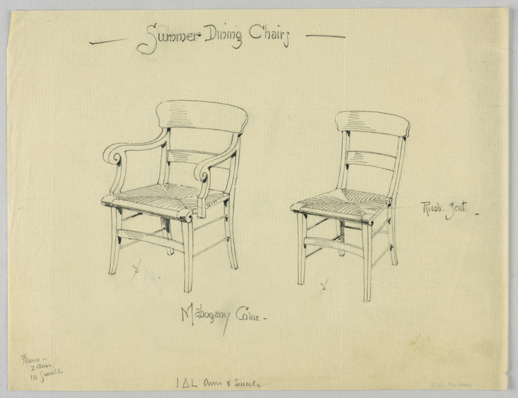Drawing, Designs for Summer Dining Chairs, 1900–05