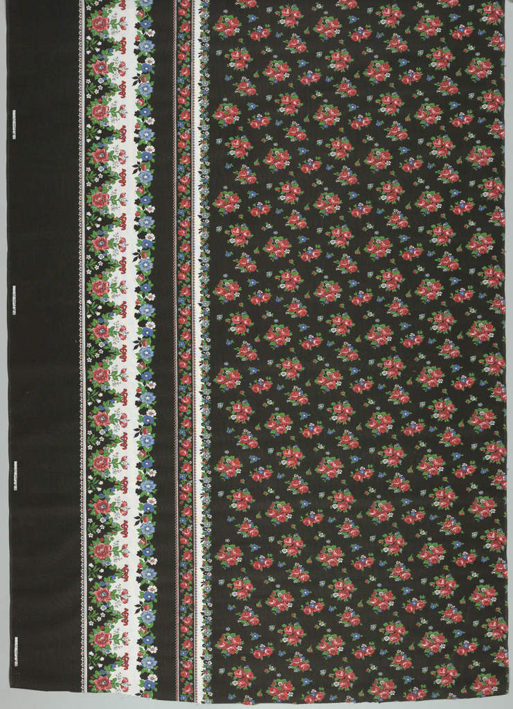 "Length of printed fabric with pattern ""railroaded"" or printed parallel with the weft. Floral border at bottom with field above it patterned by half-drop clusters of roses on a black background. These border print designs appeared in fashion advertisements for Spring 1977 and were used primarily for skirts."