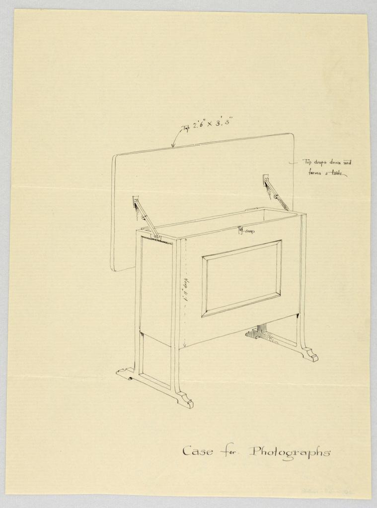 Drawing, Design for Tilt-Top Case for Photographs, 1900–05