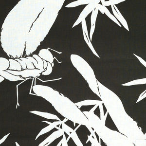 Large dragon flies with spread wings with bamboo foliage. Design reserved in white, ground printed black. Copy of a Japanese katagami from the collection.