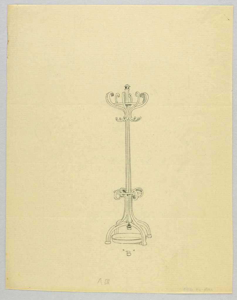 """Drawing, Design for Hat Tree """"B"""" with Drip Tray, 1900–05"""