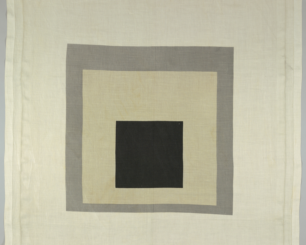 White ground with large-scale design of squares within squares in gray and black printed in wide intervals. Inspired by a painting by Joseph Albers owned by Arundell Clarke.