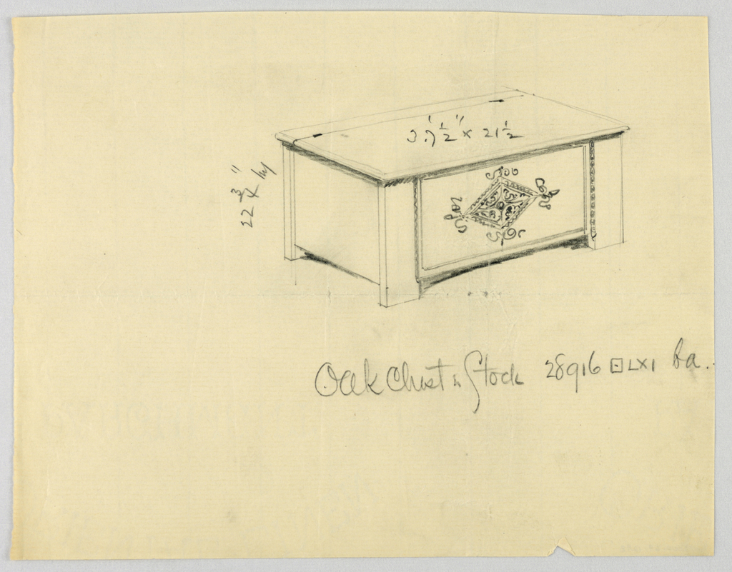 Drawing, Design for Oak Chest, Stock No. 28916