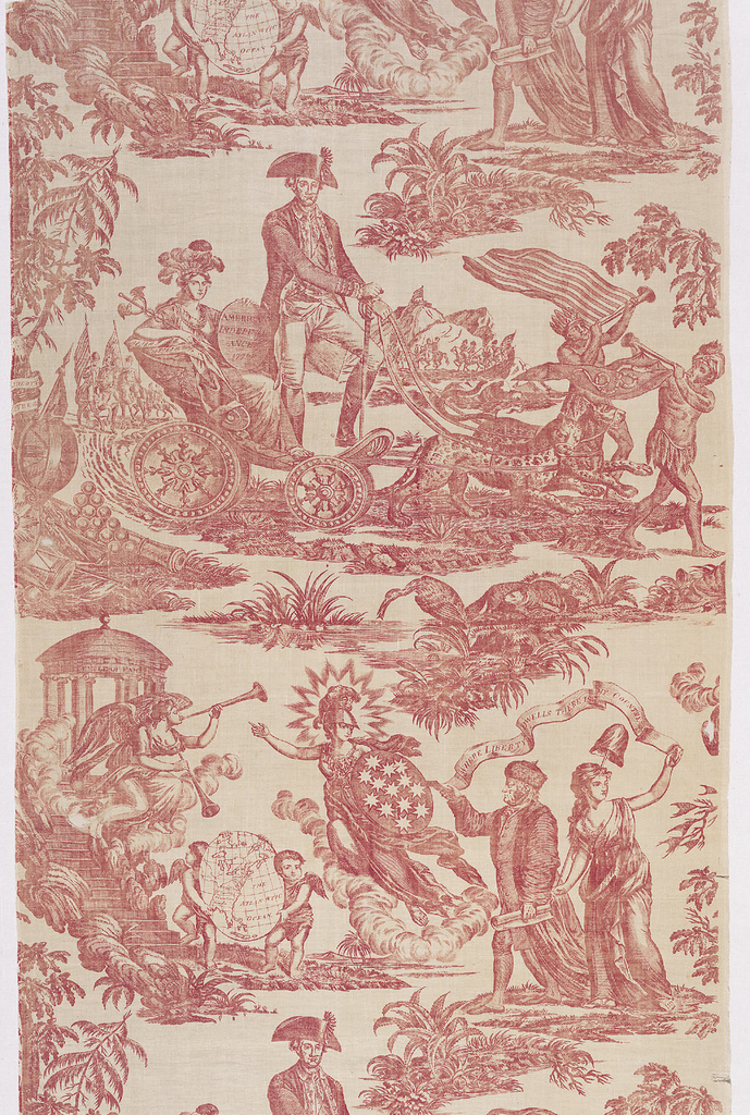 "Off-white cotton textile copperplate printed in red. The design, known as ""American Independence"" or ""Apotheosis of Franklin"" shows George Washington standing in a chariot drawn by leopards, and behind him a female figure holding a shield on which ""American Independence 1776"" is inscribed.  Benjamin Franklin is shown with a female figure carrying a liberty cap on a staff; above them on a scroll: ""Where Liberty Dwells There is my Country."""
