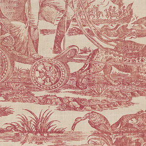 """Off-white cotton textile copperplate printed in red. The design, known as """"American Independence"""" or """"Apotheosis of Franklin"""" shows George Washington standing in a chariot drawn by leopards, and behind him a female figure holding a shield on which """"American Independence 1776"""" is inscribed.  Benjamin Franklin is shown with a female figure carrying a liberty cap on a staff; above them on a scroll: """"Where Liberty Dwells There is my Country."""""""