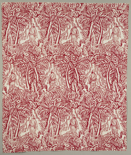 Length of printed linen with a densely arranged design of a hunter in 18th century attire with his dog; a cityscape is in the far distance and the figures are framed by trees. A spotted deer is hidden in the foliage.