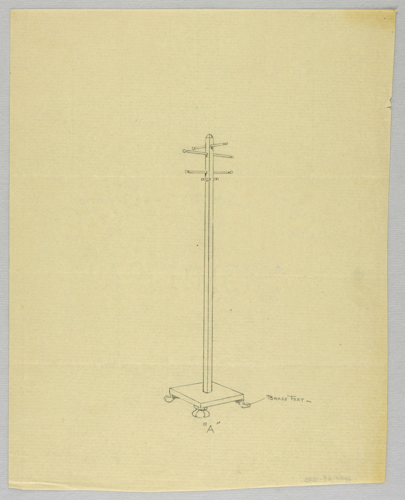 """Drawing, Design for Hat Tree """"A"""" with Brass Feet, 1900–05"""