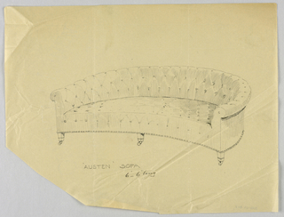 Drawing, Design for Stuffed Sofa/Hall Seat