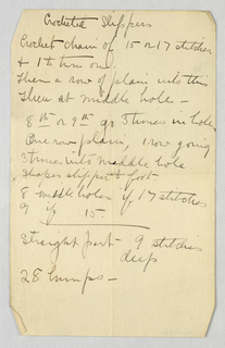 Handwritten Note, Manuscript Page with Instructions for Crocheting Slippers, 1900–05