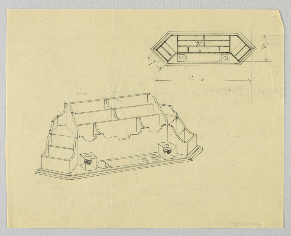 Drawing, Design for Desk Organizer in Plan and Elevation, 1900–05