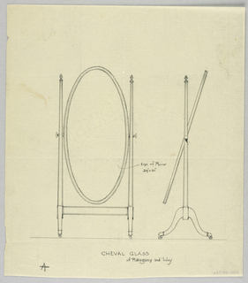 Drawing, Design for Mirror & Piano Bench