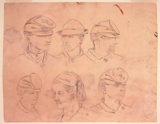 "Six studies of soldiers' heads; three across top and bottom. Four corner heads wear same hat with circular, flat top; those in upper left and lower right have ""28"" on hat.  Soldier in lower row center wears Zuave headdress.  Verso: standing woman with long hair, in profile, wearing cloak and hat. Several upside-down heads sketched at top of page."