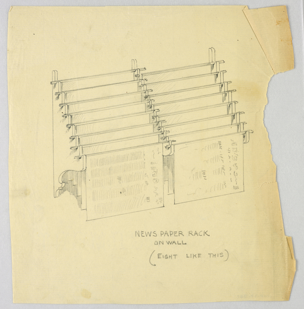 Drawing, Design for Newspaper Rack on Wall, 1900–05