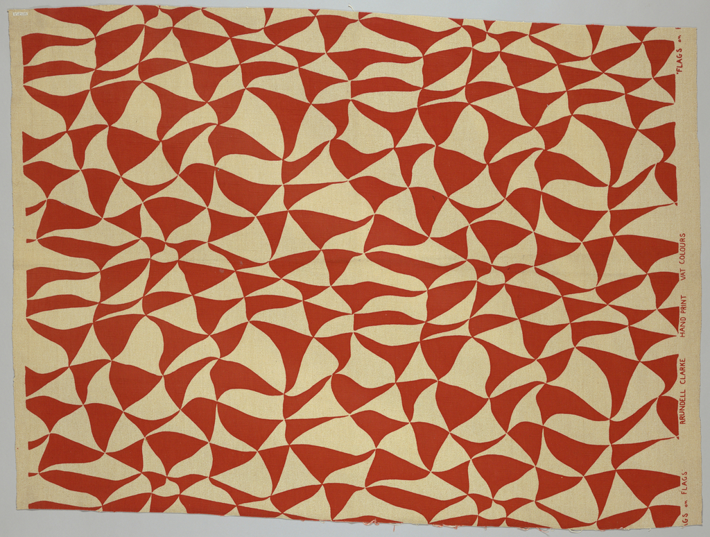 All-over design of stylized waving triangular flags, in orange-red on an oatmeal ground. Warp-faced weft rib.