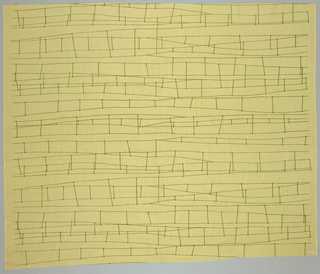 Linear stylized design of wandering paired railroad wires in horizontal lines in yellow-green on a pale yellow ground.