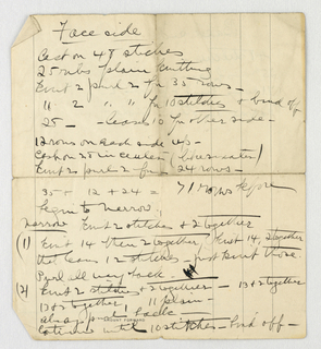 Handwritten Note, Manuscript Page of Knitting Instructions, 1900–05
