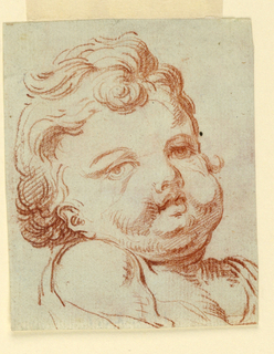 Child's head shown in three-quarter profile, the figure turned toward the left looking toward right. Verso: shows blotter of a raised bearded head.