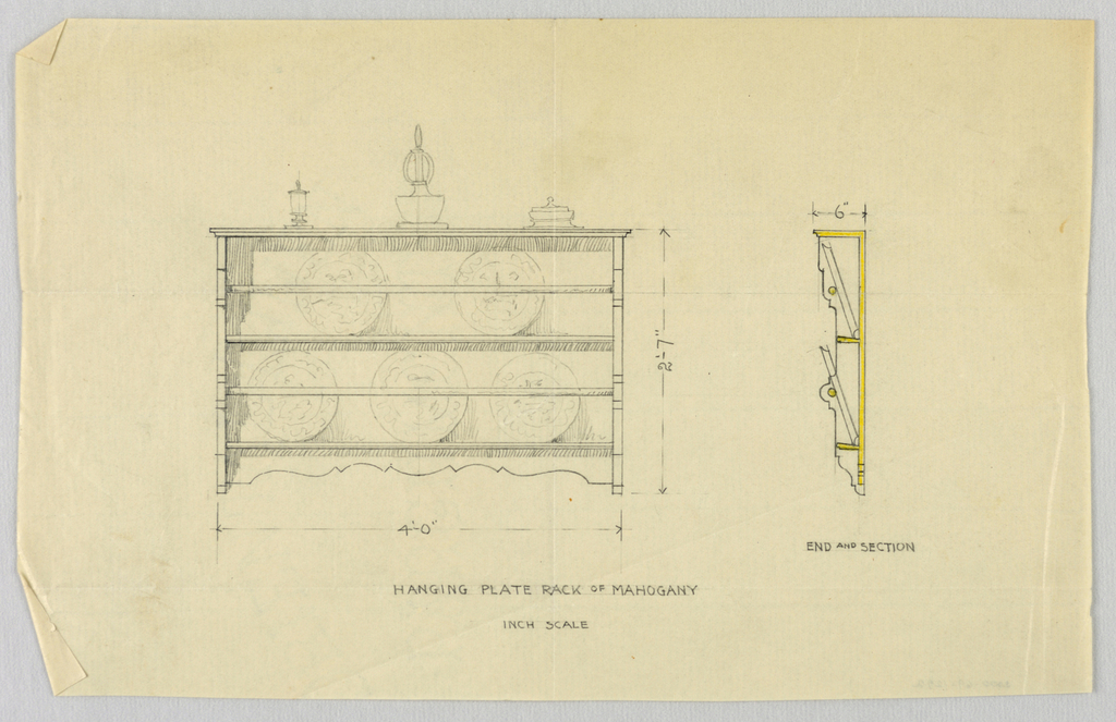 Drawing, Design for Mahogany Hanging Plate Rack, 1900–05