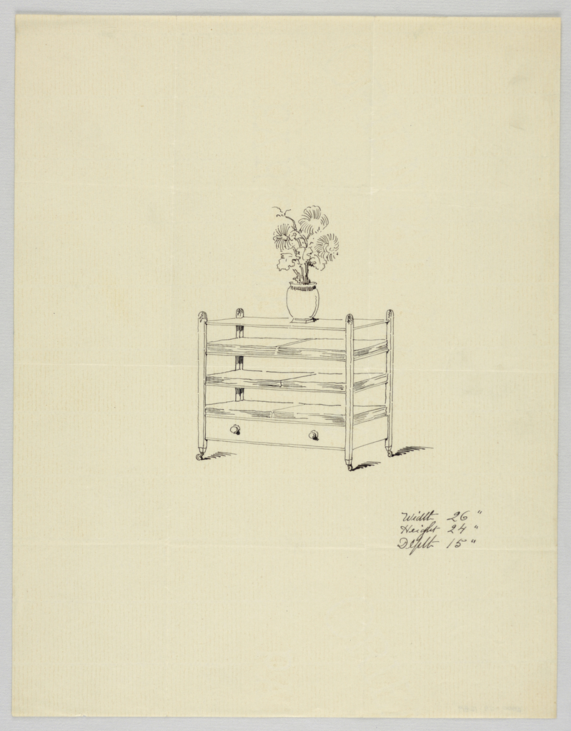Drawing, Design for Three-Tiered Table with Vase and Flowers, 1900–05