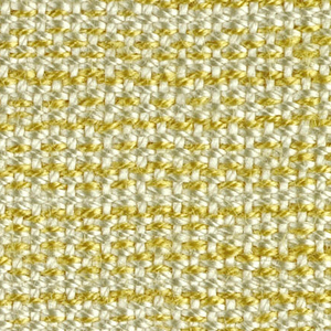 Handwoven sample with a variegated yellow and white silk texture. The warp is of off-white silk; the weft is of one off-white silk thread paired with one yellow silk thread.  Narrow plain weave band at top and bottom with undyed cotton wefts.