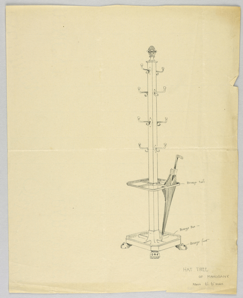 Drawing, Design for Mahogany Hat Tree with Bronze Rail, 1900–05