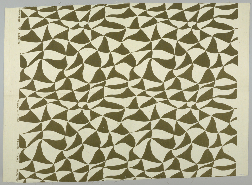 All-over design of stylized waving triangular flags, in olive green on an off-white ground.
