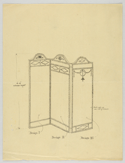 Drawing, Design for Three-Panel Screen