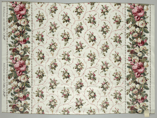 Reproduction-style fabric with an allover design of floral sprays in red, green and tan on an off-white ground. Guard borders with large and small flowers in red, green and tan.