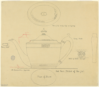 Drawing, Full Scale Plan for Engraved George III Style Silver Teapot, 1818-1900