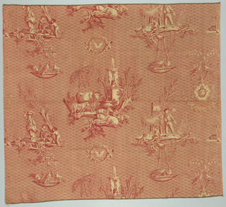 Reproduction of an early nineteenth century roller print. Rural scenes on patterned ground in red.