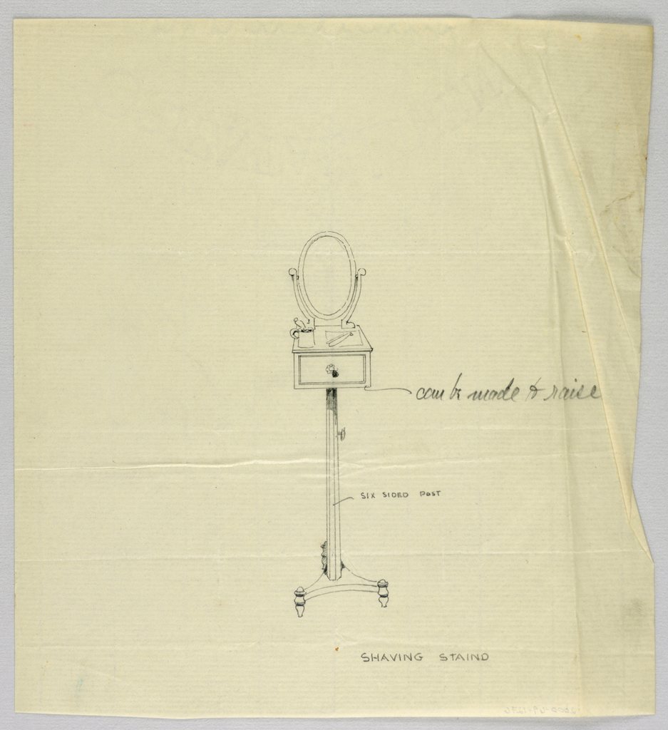 Drawing, Design for Shaving Stand with Oval Mirror, 1900–05