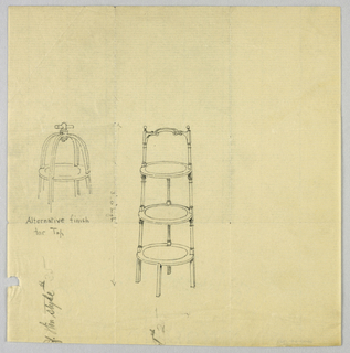 Drawing, Design for Three-Tiered Stand with Alternate Finish