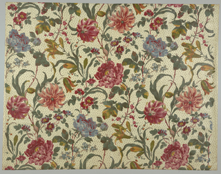 Glazed chintz with a white ground and large, bold multicolored floral design showing tiger lilies and other flowers. Block printed using twelve colors. Background is printed in a small design of clover leaves.