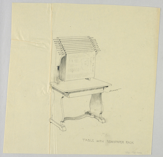 Drawing, Design for Table with Flush-Back Newspaper Rack, 1900–05