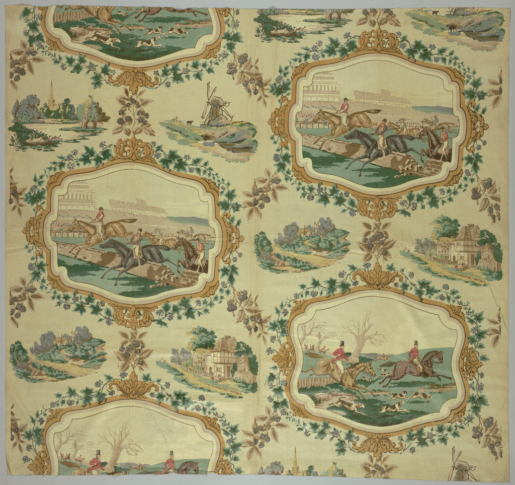 Cartouches of scenes of steeplechase alternated with fox hunt. Cartouches surrounded by ivy vines and rural vignettes.