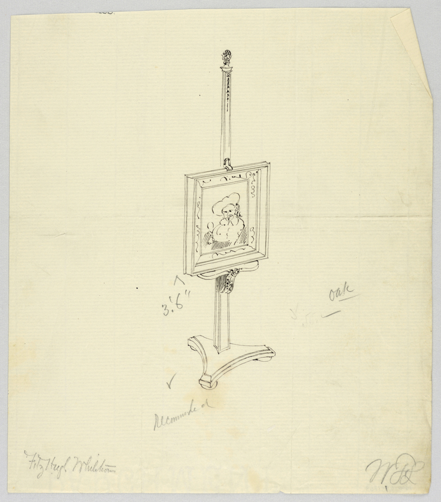Drawing, Design for Oak Painting Easel