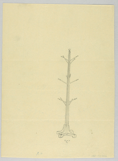"""Drawing, Design for Hat Tree """"C"""" with Angled Branches, 1900–05"""