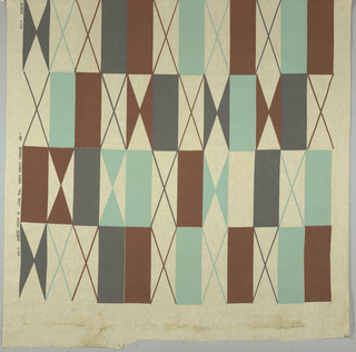 Geometric design printed in gray, brown and turquoise on a beige ground.