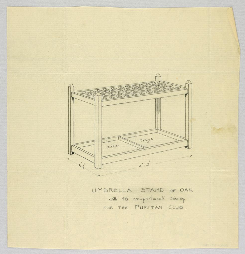 Drawing, Design for Oak Umbrella Stand, 1900–05