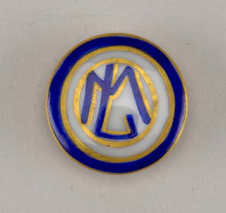 "Circular, molded porcelain blank. Obverse with blue and gold border surrounding monogram ""M L."" Reverse with molded shank, gold border, and gold initials ""S L."""