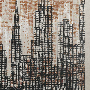 Textile with a single large print of a receding vista of skyscrapers in textured black, brown and white on an unbleached linen ground.
