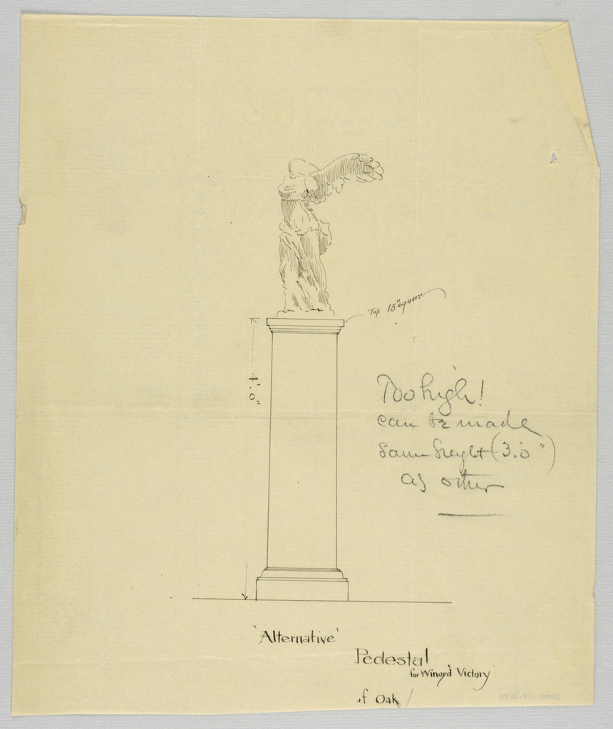 """Drawing, Design for Pedestal with """"Winged Victory"""" Statue Atop, 1900–05"""
