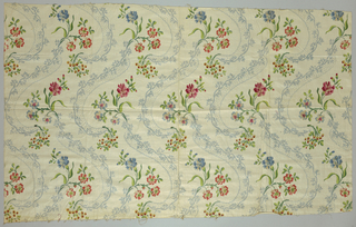 Adaptation of an eighteenth-century woven silk pattern. Small flower sprays and scrolls of lace in straight repeat.
