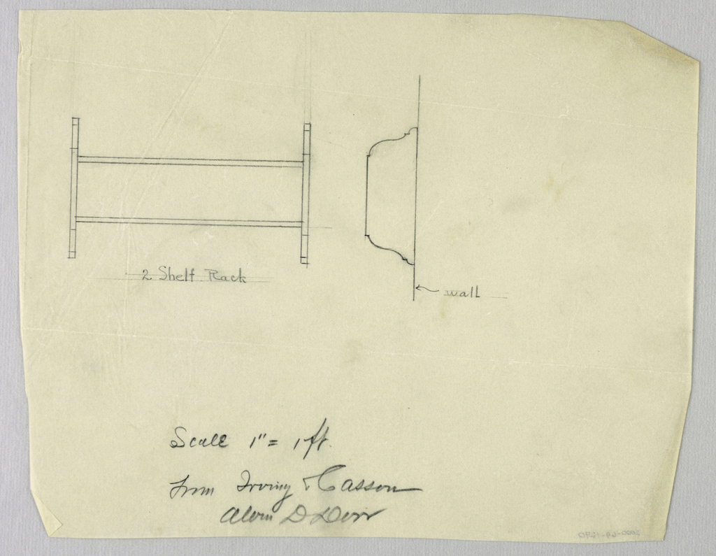 Drawing, Design for Two-Shelf Wall Rack